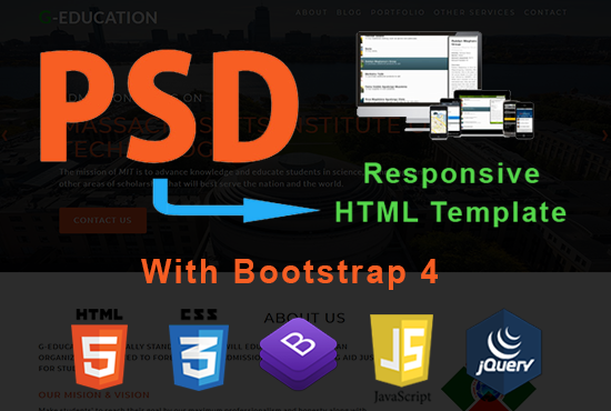Convert PSD to HTML with Bootstrap 4 & Responsive Design