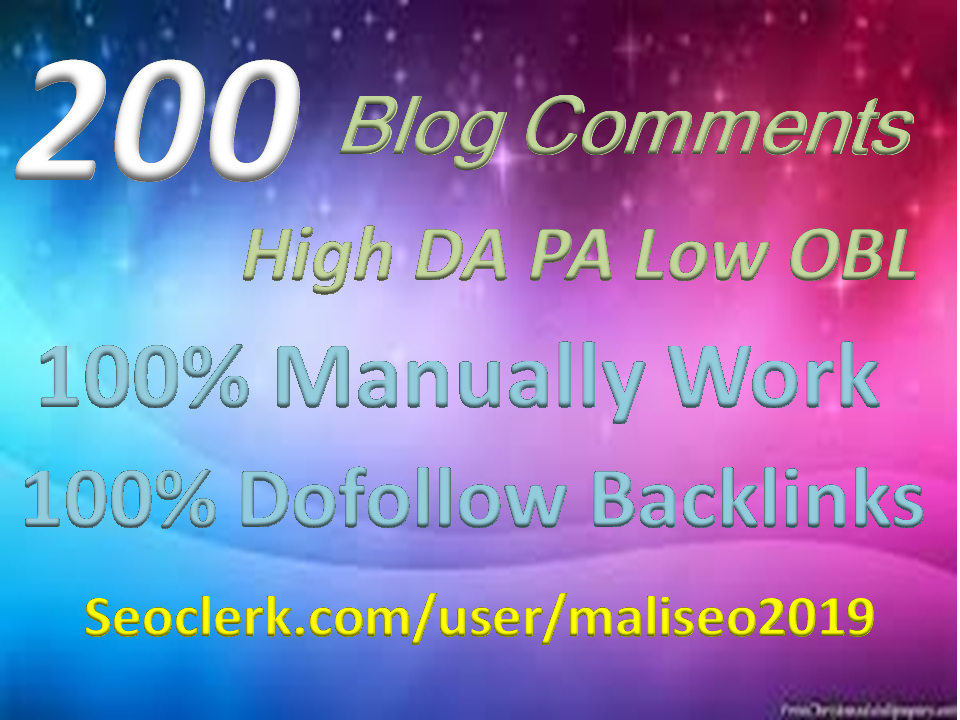 Creat Provide seo build 200 Blog Comments Backlinks High DA, PA. TF. CF