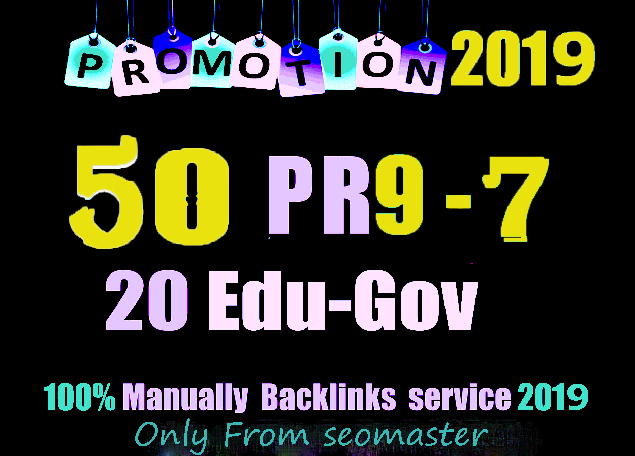 50 PR9 DA 80-100 + 20 EDU - GOV Highpr Safe SEO Authority Backlinks