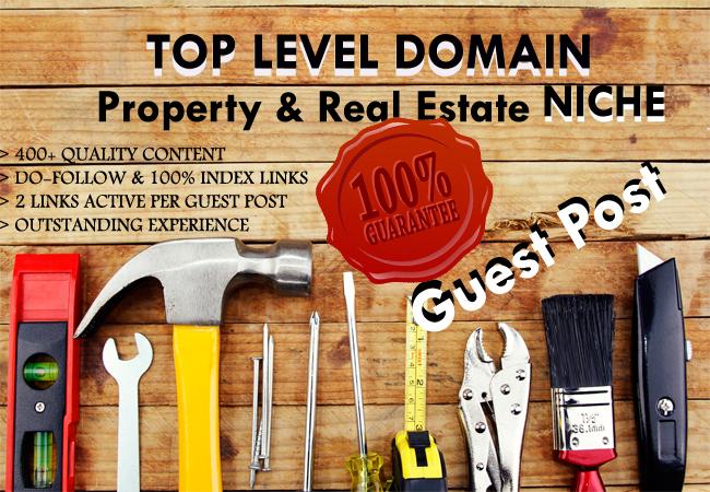 Write 2xarticles and publish on 60xTLD real estate niche da 15 - 30