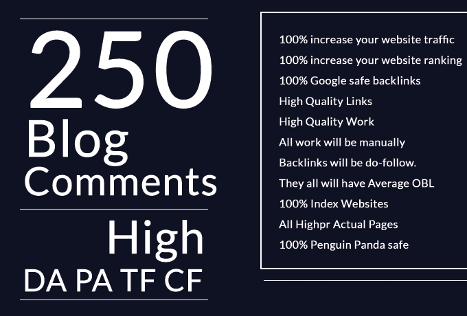 Backlinks High quality 250 Dofollow blog comments