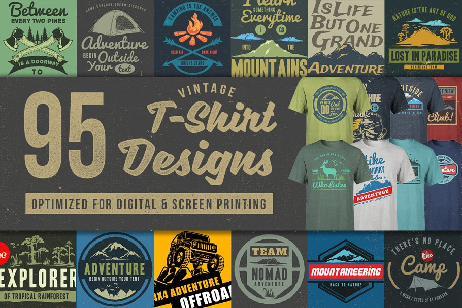 95 T-Shirt Designs Editable PSD