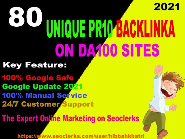 I will do 80 unique pr10 backlinks on da100 sites