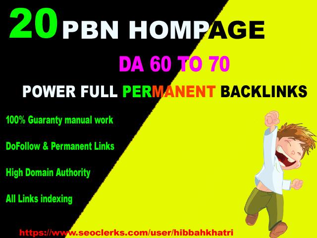 20 Permanent PBN Hompage Backlinks on DA 60 to 70 google top ranking