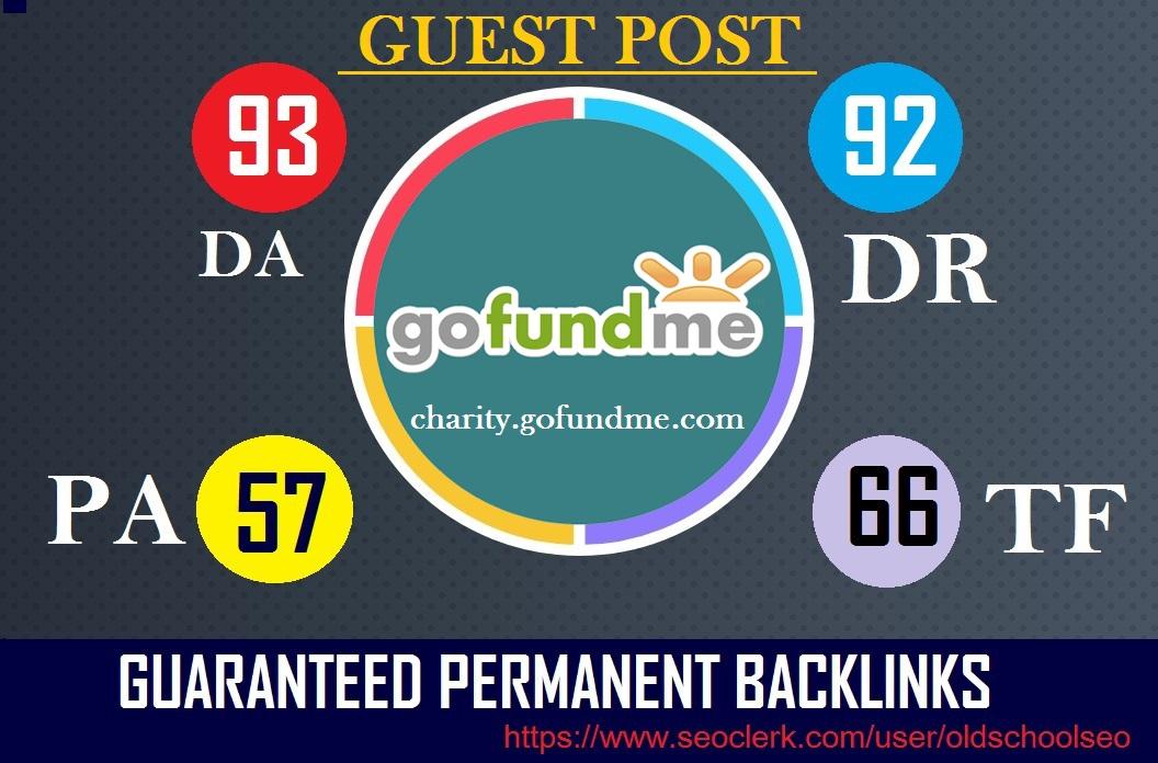 Publish A High DA Guest Post On charity. gofundme. com DA-93 With Guaranteed permanent backlinks