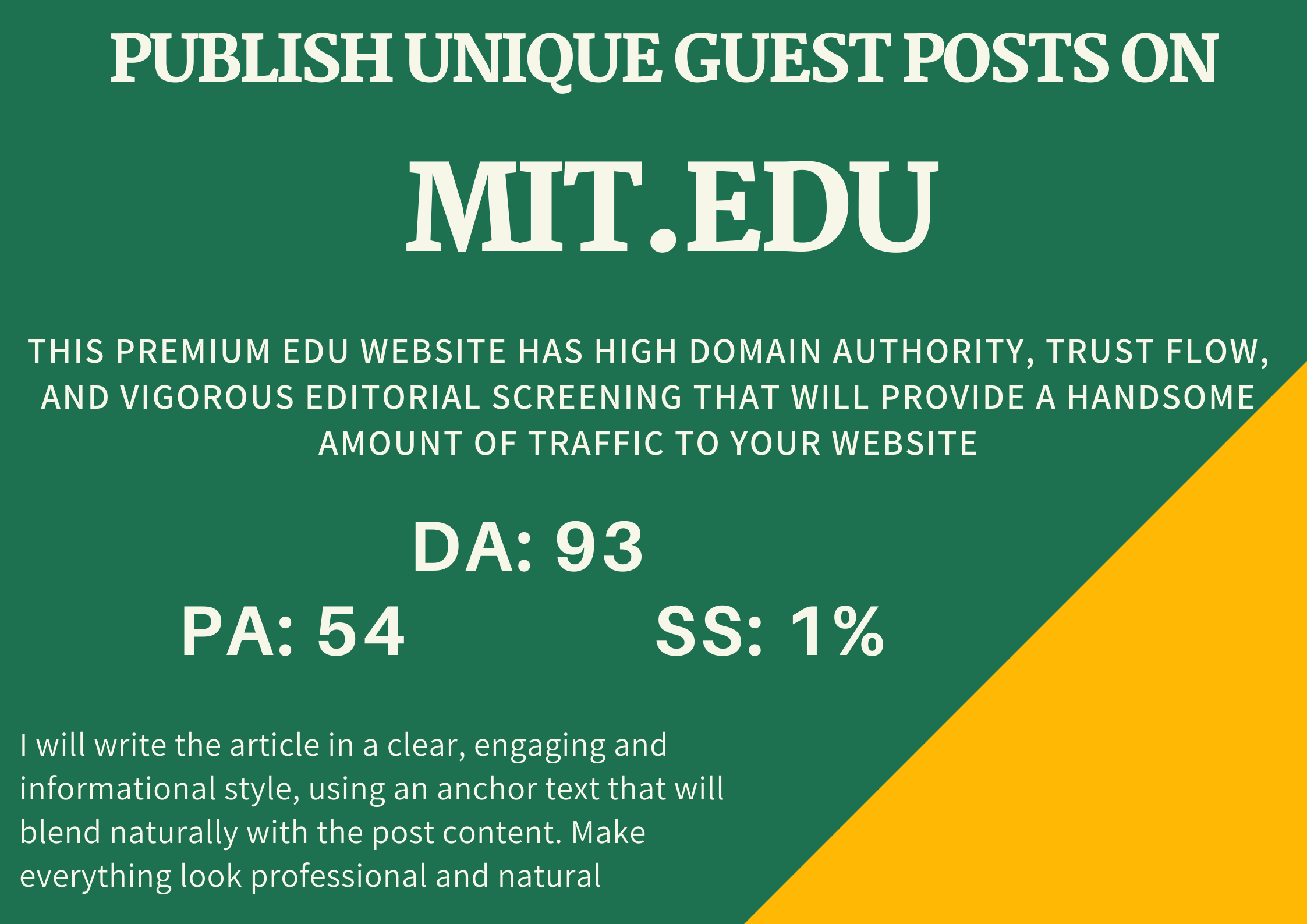 I will write and publish unique guest posts on High Authority EDU domains DA- 93 PA 54