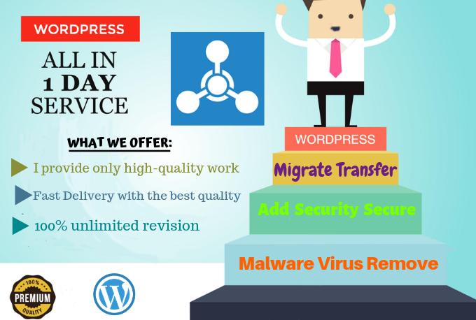 Wordpress Malware Virus Remove,  Migrate Transfer And Add Security