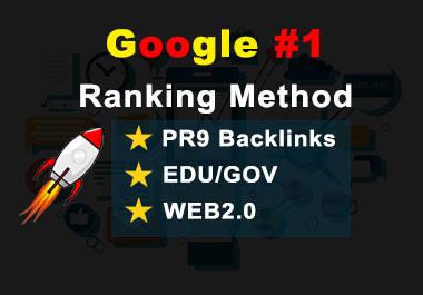 First Google ranking method with us 50 Pr9, 20 EDU/GOV and WEB2.0 White hat SEO Backlinks