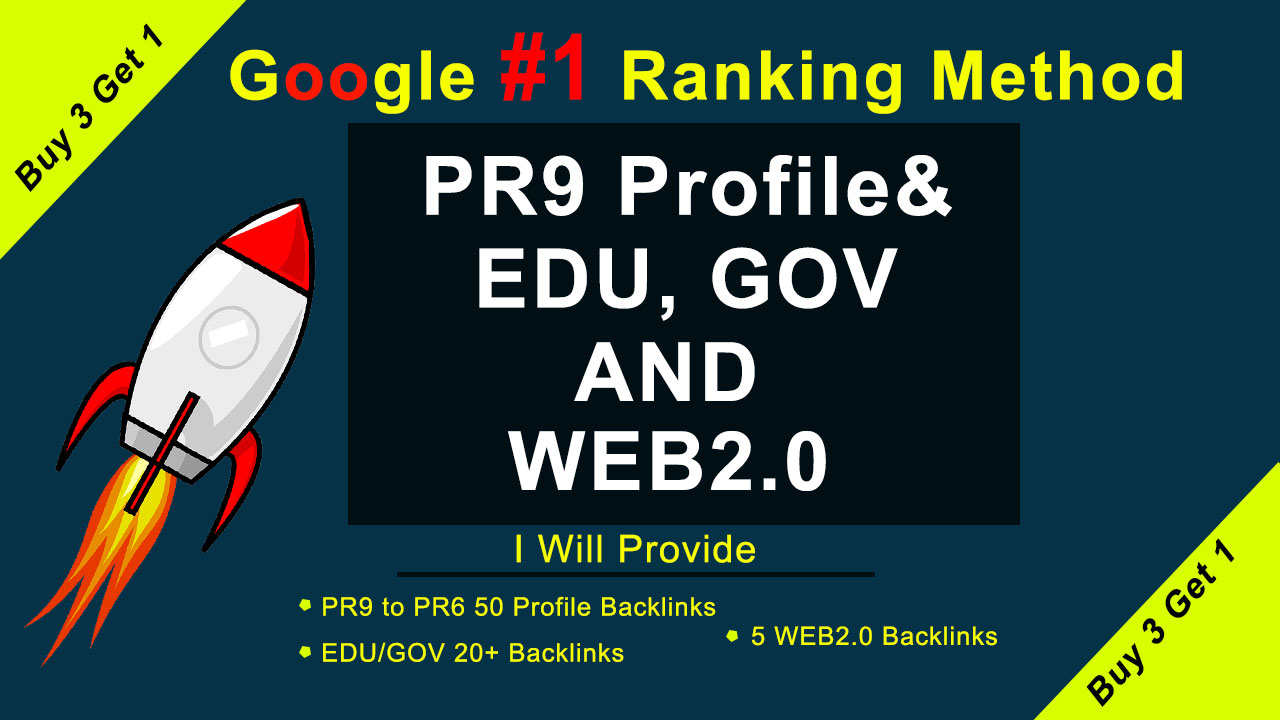 First Google ranking method with us 50 Pr9,  20 EDU/GOV and WEB2.0 White hat SEO Backlinks