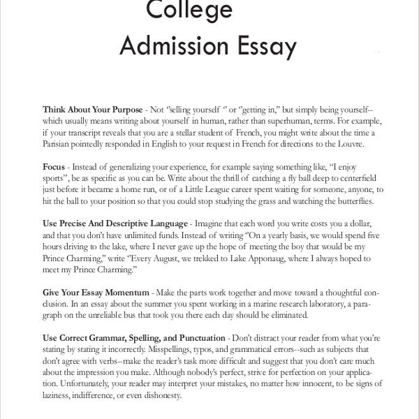 Personal essay for school admission