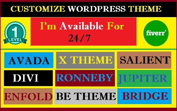 Customize WordPress Theme,  Avada,  Enfold,  Betheme,  Divi,  Ronneby,  Bridge etc