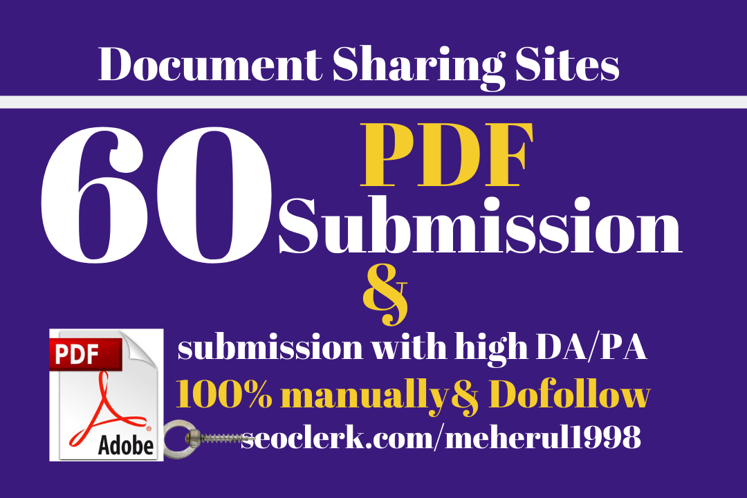 I will create your pdf submission to high da pa websites