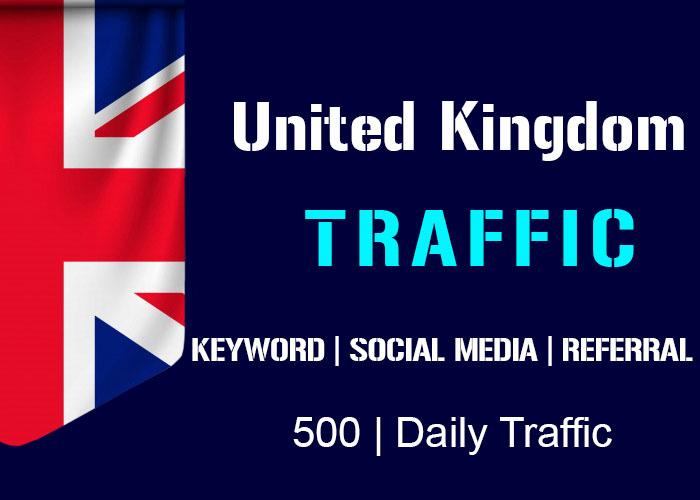 send 500 Daily Uk Organic Keyword, Social Media, Referral Real Traffic