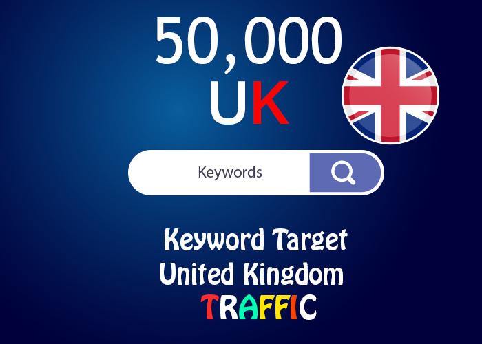 send 50,000 keyword target UK real traffic