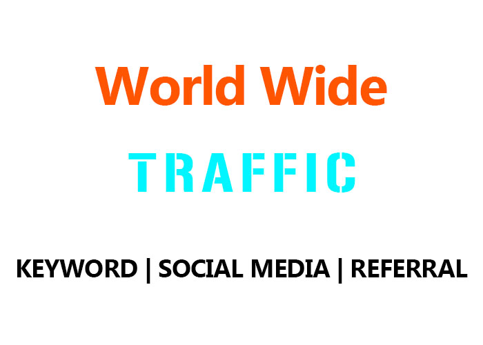 50,000 Real World Wide Organic Keyword, Social Media,  Referral Traffic