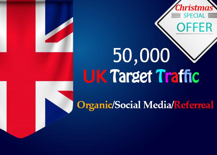 send 50,000 Uk Targeted organic, social media, Referral traffic Adsense Safe