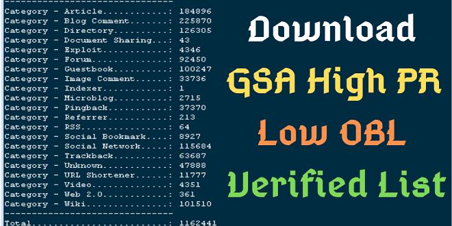 Updated 100,000,00 Plus GSA Ser Verified Links list 2019