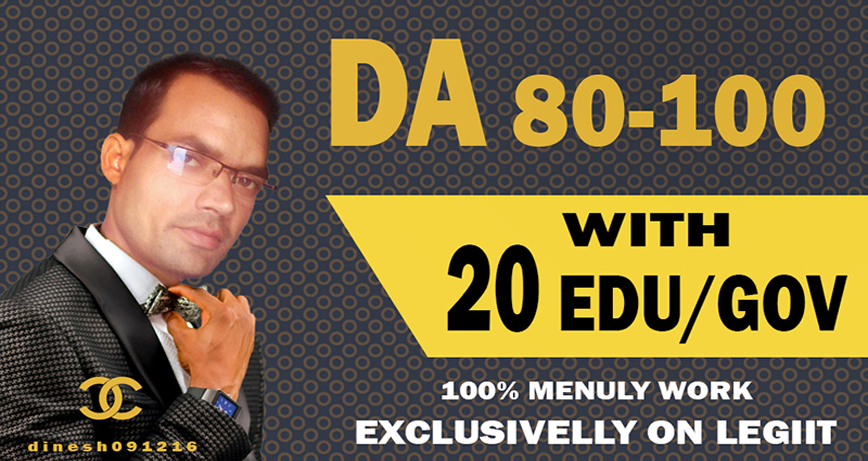 Create 60 Backlinks Da 80 To 100,  40 links,  With 20 Edu-Gov. average DA 40-100 20 links