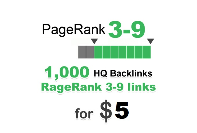 Create 1000 High Quality Backlinks from PR3 to PR9 Domain Only