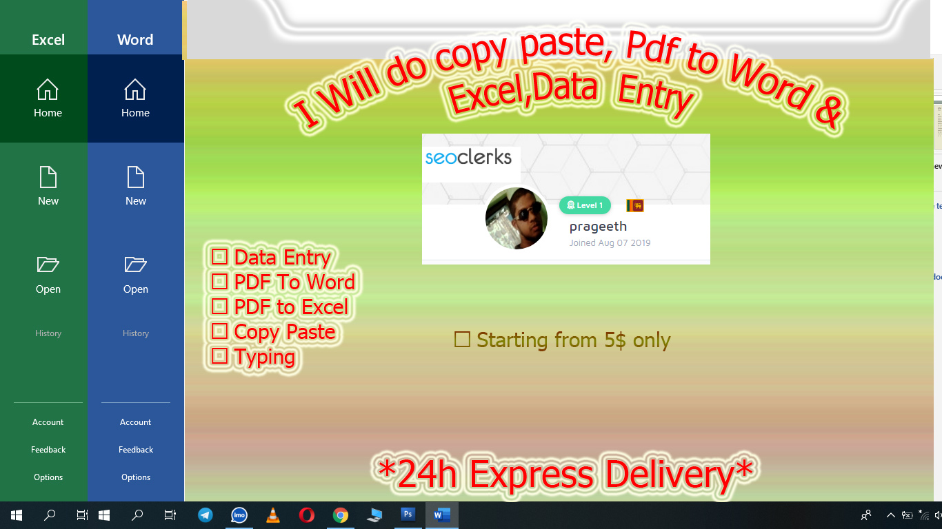 Pdf to Word & Excel, Data entry, Typing, Photoshop, Copy Paste,