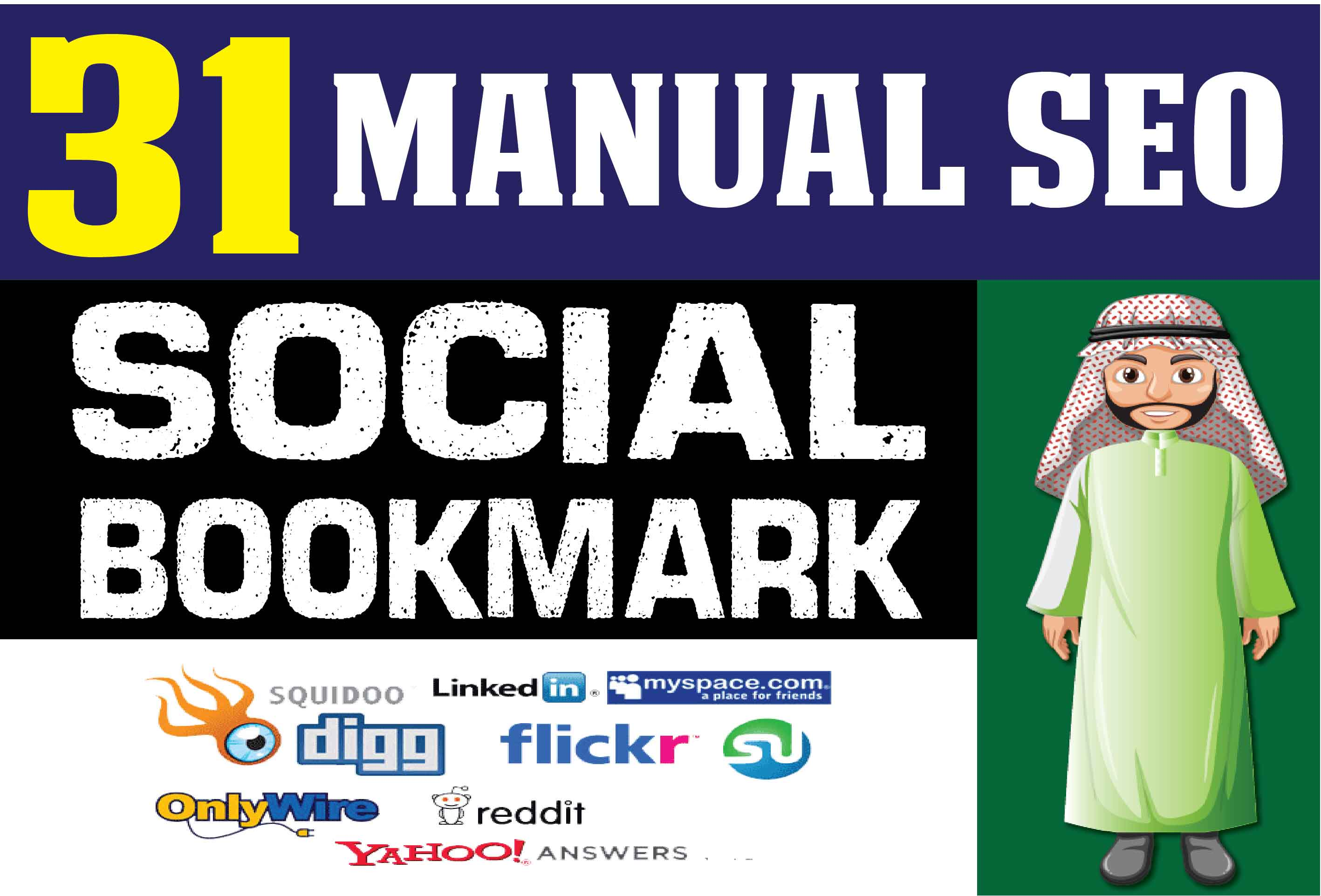 Manual 31 SEO Social Bookmarking Contextual Authority Backlinks to get Google First Page ranking