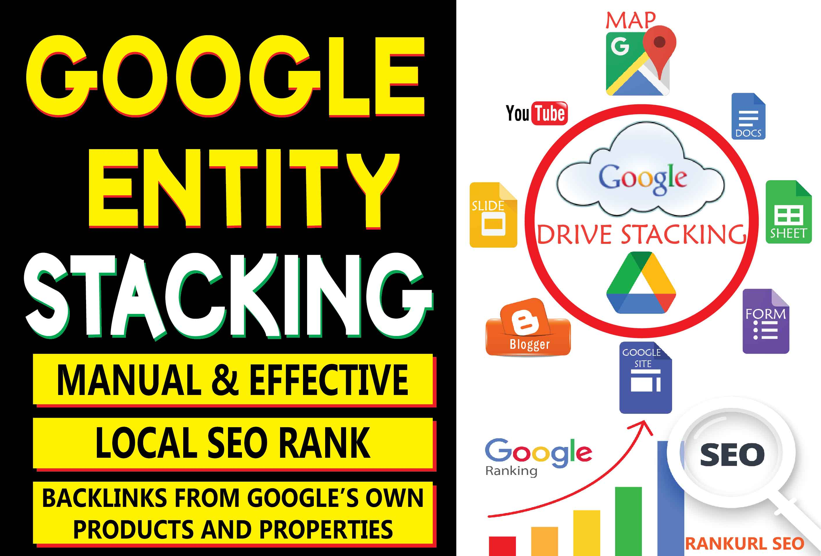 Advance Google Entity Stacking from Google own Properties Backlinks to get Google top Search Results