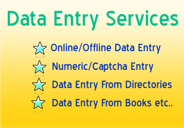 Data Entry Services, Online/Offline Data Entry,  Numeric/Captcha Entry