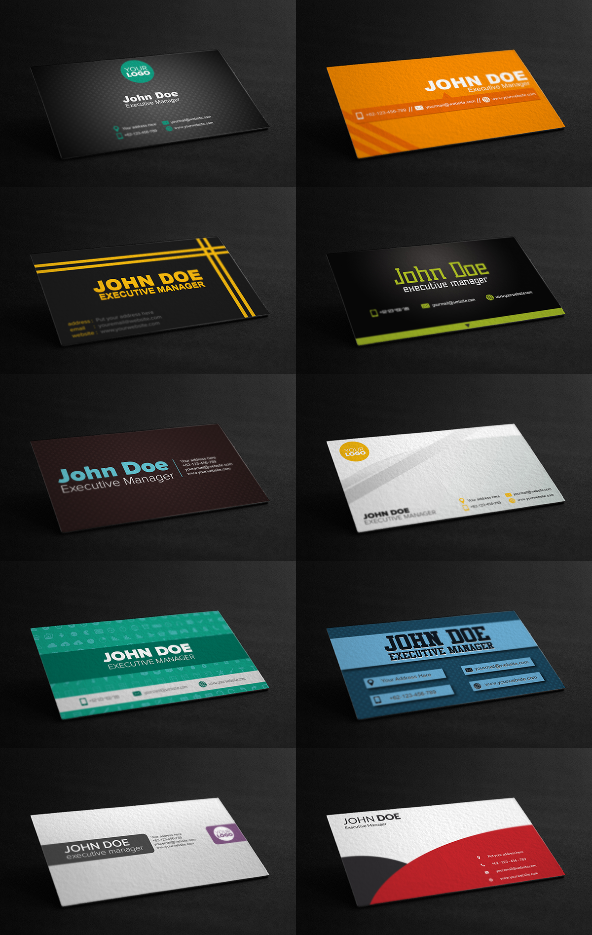 Get Bundle of 10 Pre-made Editable Business Cards ,Visiting Cards