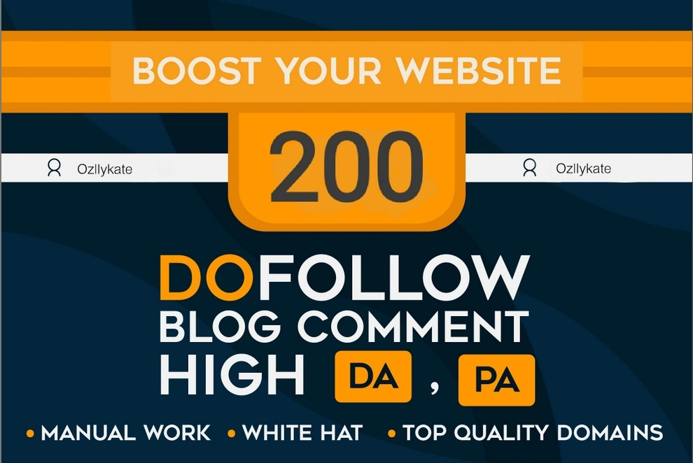 Do 200 Unique Domain Blog Comments High Da Pa And Dofollow Links