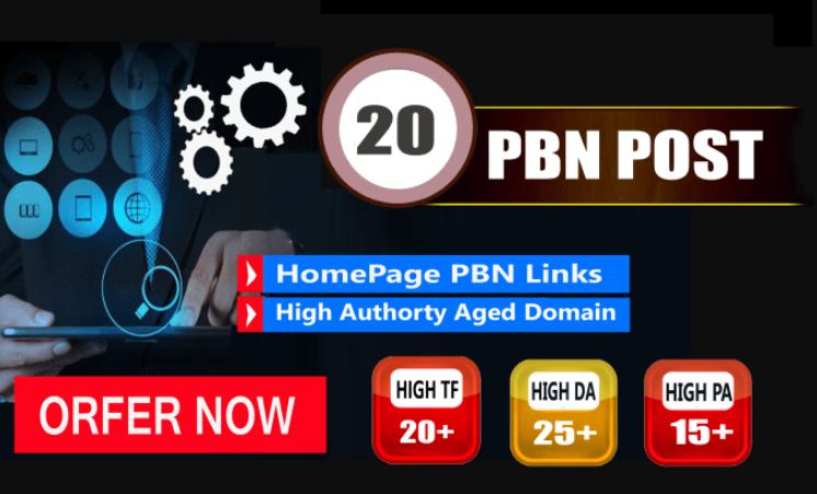 I will Provide 20 Pbn Links Dofollow DA 25+TF 20+PA 15+