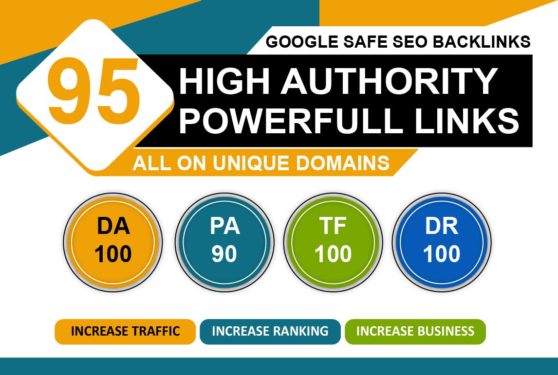 I Will Manually Do 95+ Unique Domains DA 100 TF 100 Seo Backlinks PR 10 Sites