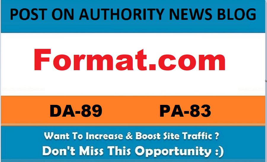 Guest Post On Format. com DA89 Permanent Link