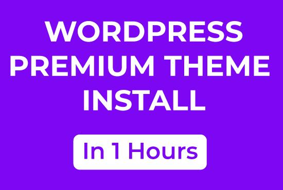 Install Premium WordPress Theme 1 Hour