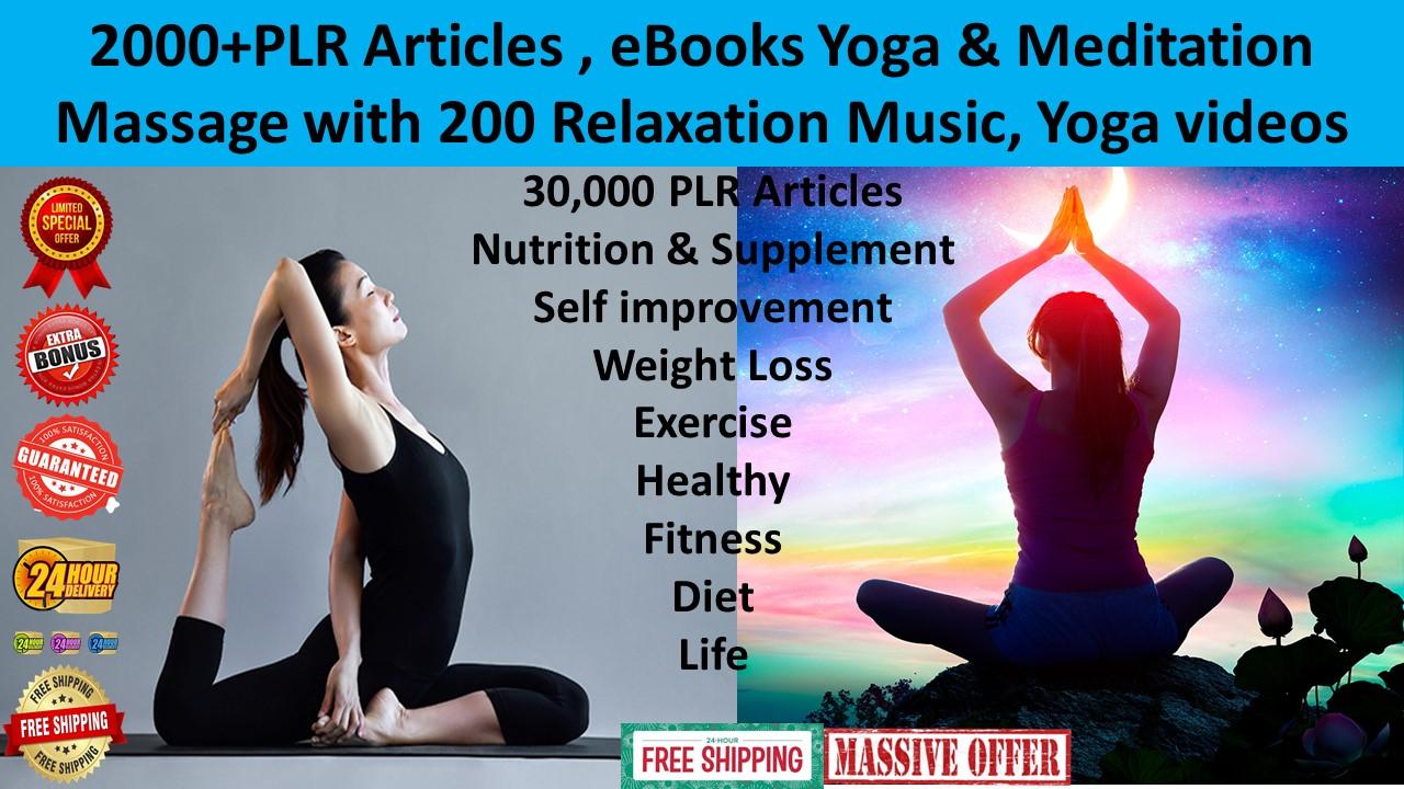 2000 articles ebooks,yoga,meditation 3000 music,300 videos