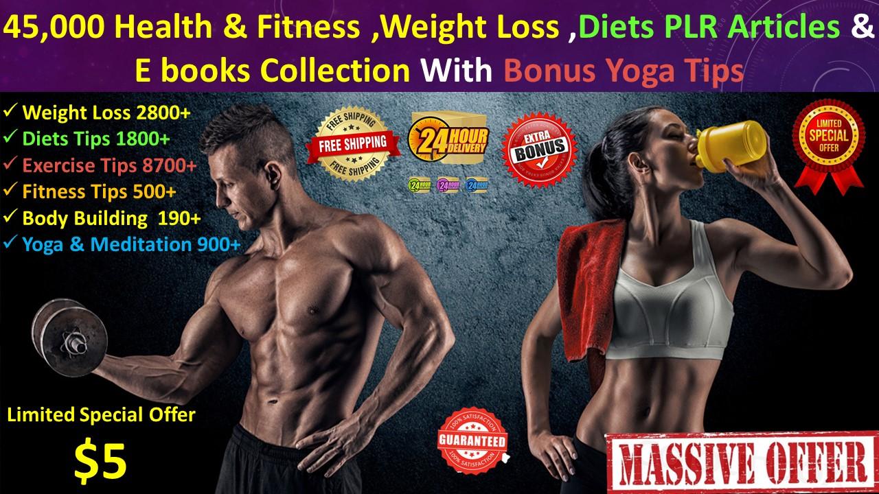 45,000 health fitness diet yoga articles ebooks 2000 videos