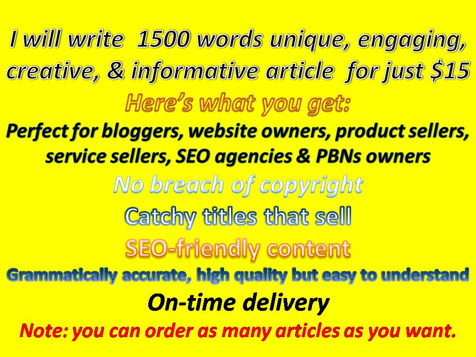 1500 words article - engaging & informative