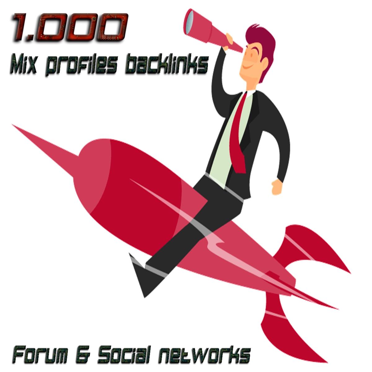 1.000 Mix profiles backlinks forum & social networks HIGH QUALITY