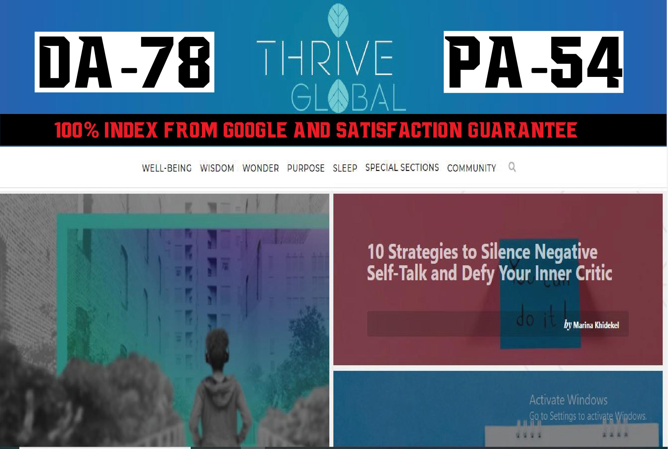 Premium Guest Post On Thriveglobal DA78 Blog