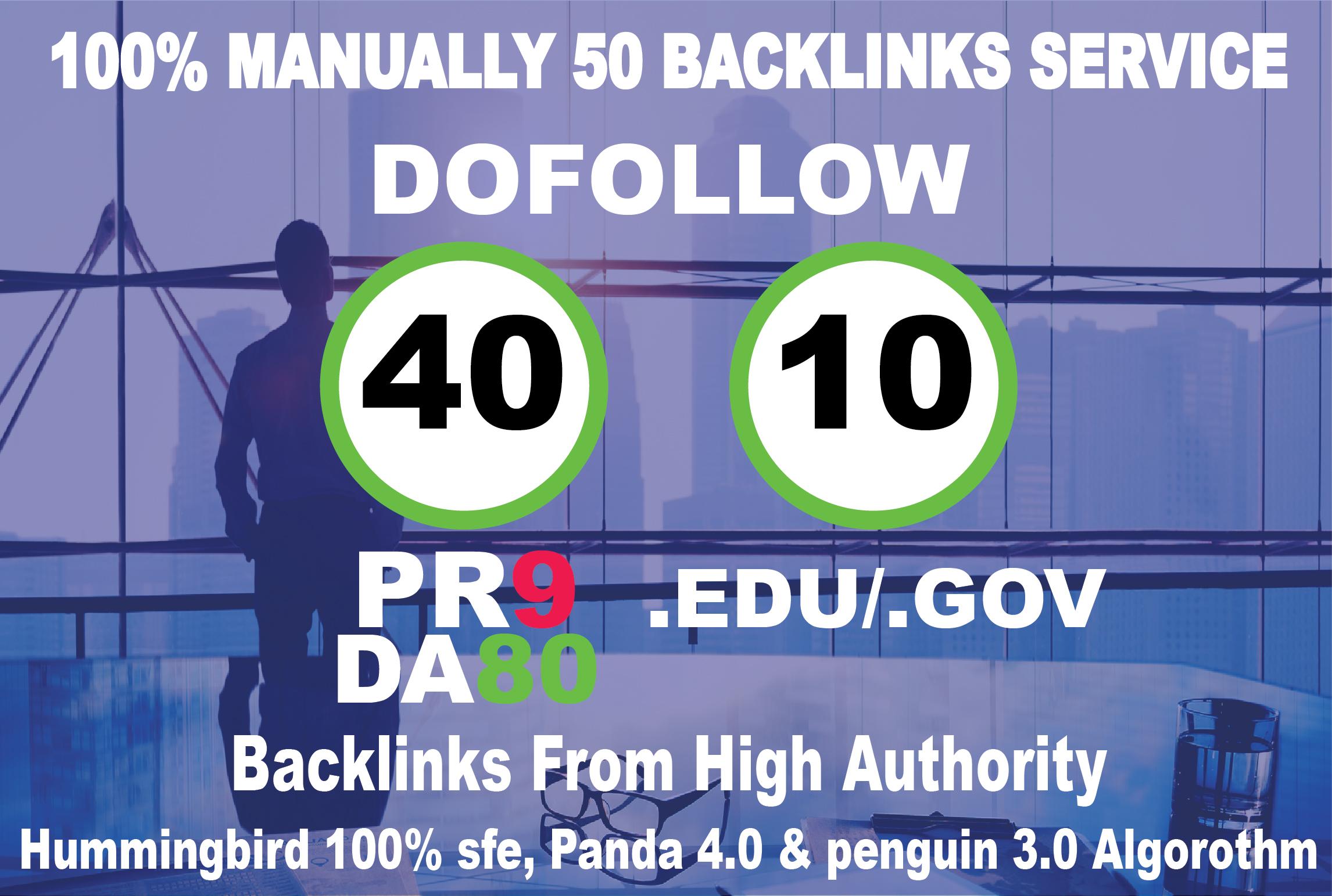 I will manually do 40 PR9 DA 80 + 10 EDU/GOV Safe High Pr Da SEO Backlinks 2020 Best Results