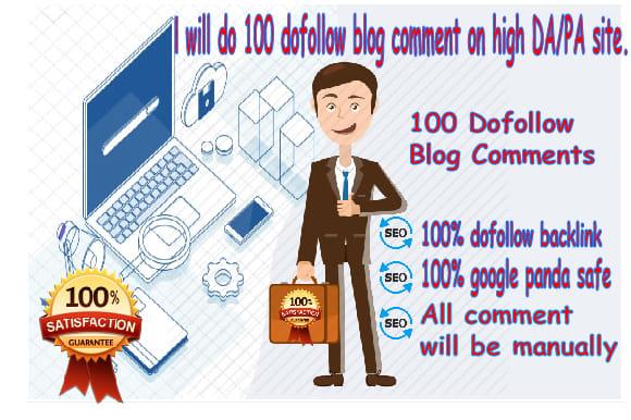 I will do 100 manually high da blog commenting