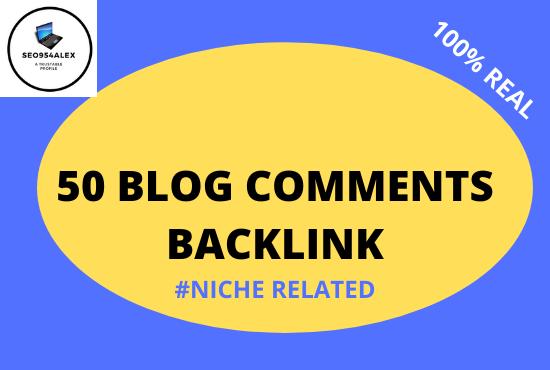 50+ Blogcomments backlink bashed on niche