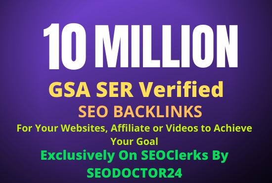 10 Million GSA SER Verified SEO Backlinks