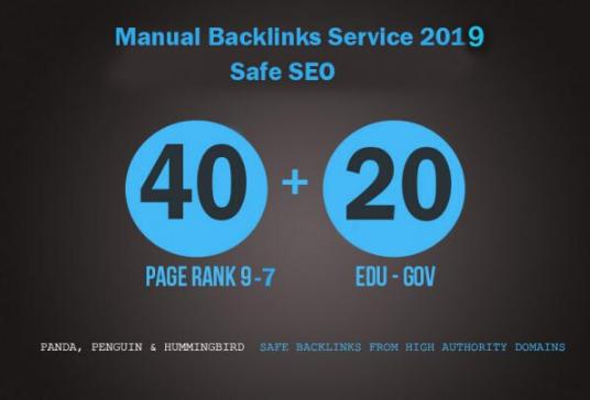 High Quality 60 Backlinks 40 PR9-PR7 profile and 20 edu/gov links
