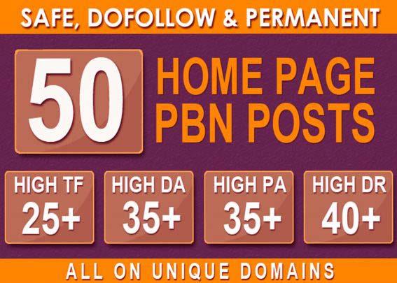50 HIGH TRUSTFLOW HOMEPAGE Web2 PBN DOFOLLOW Unique 50 website Link DA 35+ PA 35+ SEO Backlinks