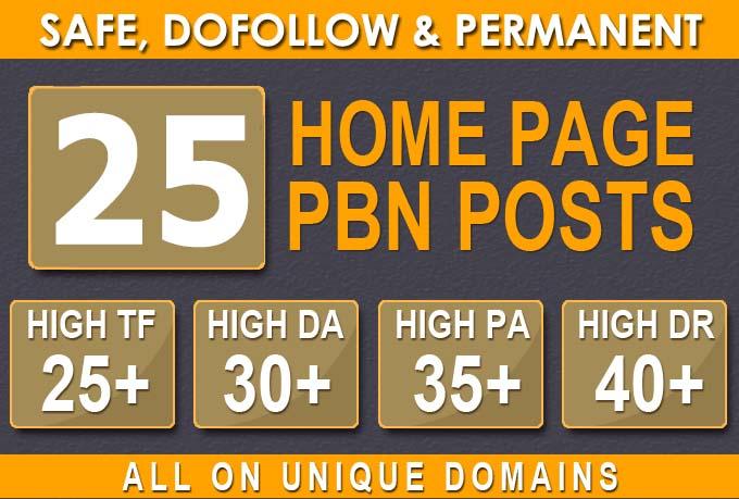 25 HIGH TRUSTFLOW DA 35+ PA 35+ HOMEPAGE Web2 PBN DOFOLLOW BACKLINKS