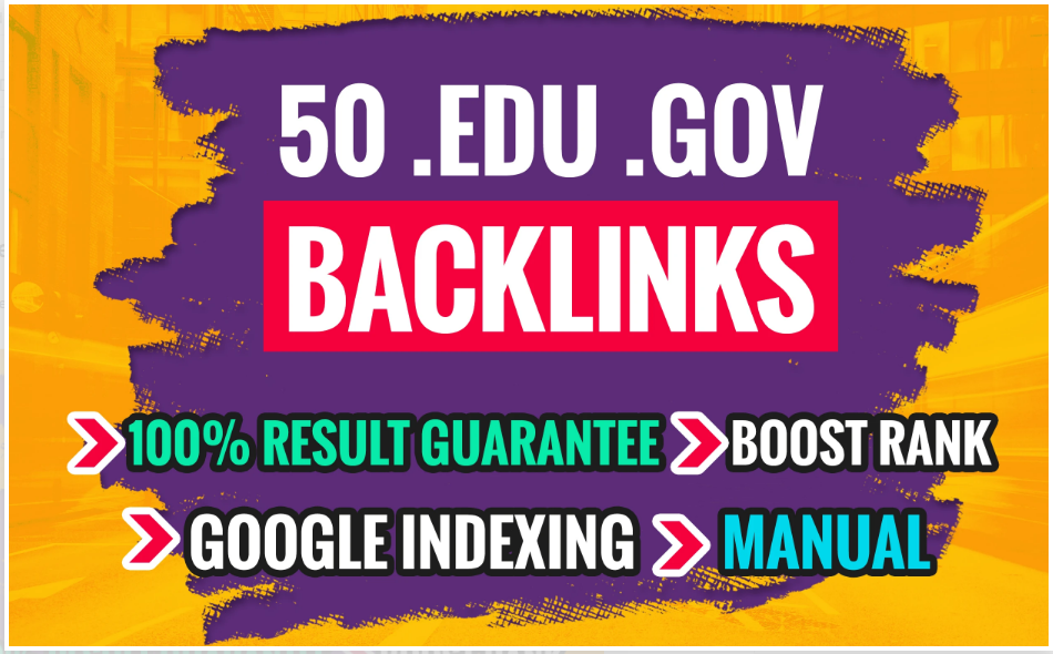 I will do 50 edu .gov link building,backlinks for off page SEO