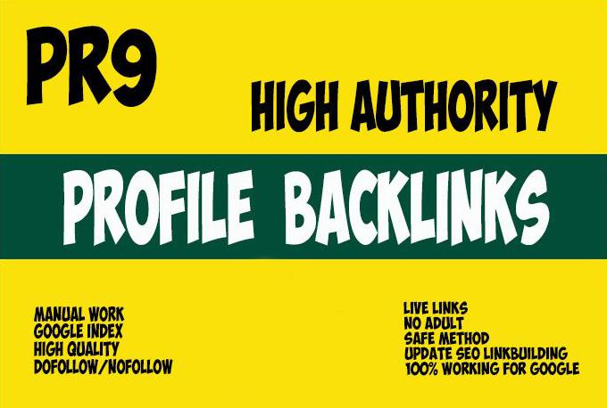 15 PR9 High Quality DA 80+ Permanent Profile Backlinks SEO