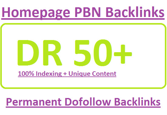 I will make 15 DR 50 do-follow permanent homepage PBN backlinks