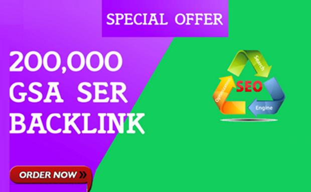 200,000 GSA SER SEO Backlinks for 6