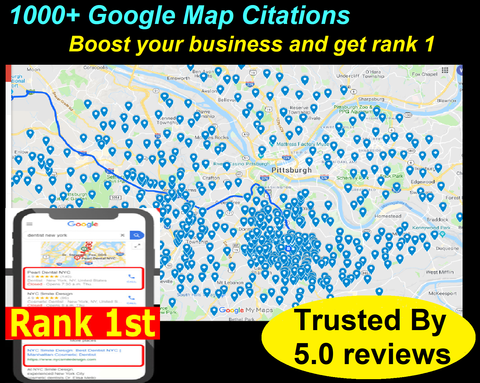 300+ Google map Citations and 10 Local Citations